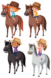 Fototapeta Konie - Set of children riding horse © brgfx