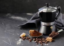 "Постер, картина, фотообои ""still life of coffee, grains and ground on a black background"""