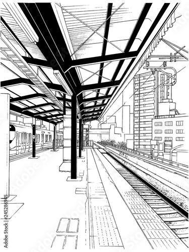 漫画風ペン画イラスト 駅 ホーム - 245286945