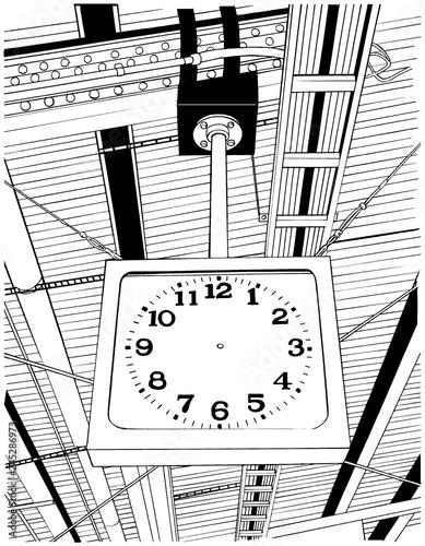 漫画風ペン画イラスト 駅 ホーム - 245286973