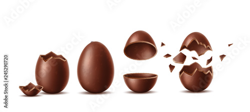 Vector realistic chocolate eggs set easter symbol
