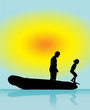 Leinwanddruck Bild - Father and son play in boat