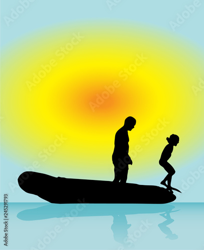 Leinwanddruck Bild Father and son play in boat