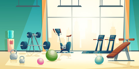 Vector cartoon background of gym with big window. Spacious place with barbells, treadmill and rubber balls. Sport interior with dumbbells, water cooler and training bike. Athletic, healthy concept.