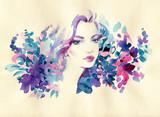 beautiful woman. fashion illustration. watercolor painting - 245295750
