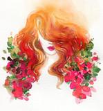 beautiful woman. fashion illustration. watercolor painting - 245295968