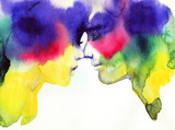 man and woman. fashion illustration. watercolor painting - 245296155