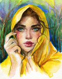 beautiful woman. fashion illustration. watercolor painting - 245296528