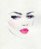 beautiful woman. fashion illustration. watercolor painting - 245296561