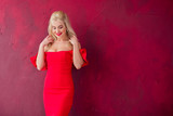 Lady in red classical fashionable midi dress, woman elegant fashion , Portrait of elegantly dressed gorgeous romantic woman with red lips