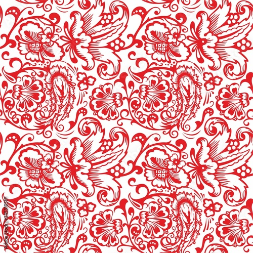 Seamless Russian pattern .Vintage Ornament vector. Russian style ornament engraving border floral retro pattern. Foliage swirl decorative design element filigree - 245310519