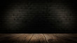 Wooden table in a dark room.