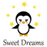cartoon cute penguin with stars and text