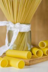 pasta, raw cannellones and spaghetti