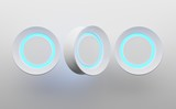 3D wallpaper with blue light circles on white background