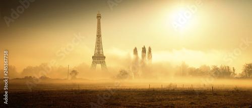 la Torre Eiffel vista dalla campagna nebbiosa - 245367758