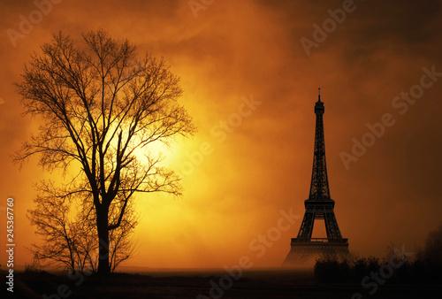 paesaggio nebbioso con la Torre Eiffel - 245367760