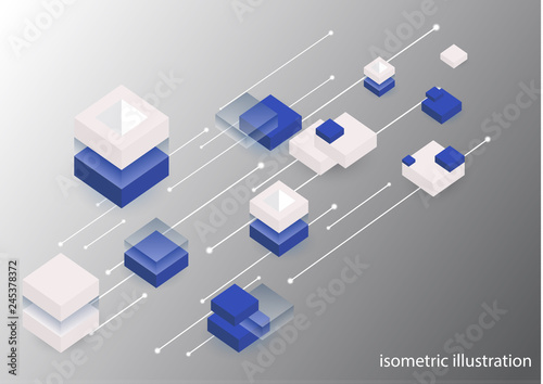 Modern isometric background. Blockchain concept banner with cubes and blocks.