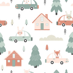 Seamless pattern with houses and cars