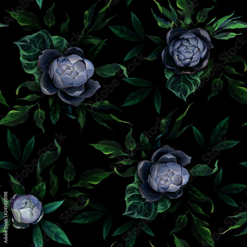 Seamless pattern of different white and blue peony flowers and leaves on dark black background. © Kateryna