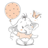 Hand drawn vector illustration of a cute baby elephant with balloon.