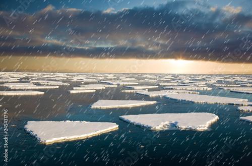 fototapeta na ścianę Amazing frost Sea landscape of Spitsbergen in the Arctic North Pole region. Soft focus.