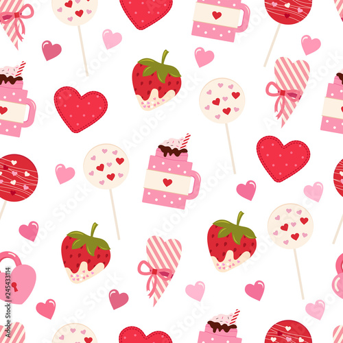 fototapeta na ścianę Seamless vector pattern for Valentine's day and Wedding Invitation Card. Sweet love texture for packaging paper, fabric, decorative prints and invitation card. Vector repeating texture.