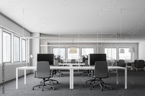 Leinwandbild Motiv White open space office interior