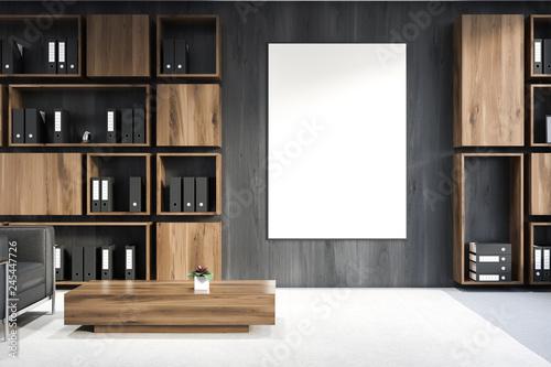 Leinwandbild Motiv Gray wooden office lounge with poster