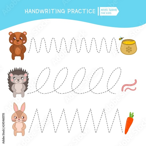 fototapeta na ścianę Handwriting practice sheet. Basic writing. Educational game for children. Cartoon animal and their food.