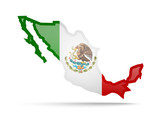 Mexico flag and outline of the country on a white background.