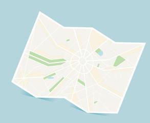 放射線状の地図のイラスト:カーナビゲーション ベクターデータ