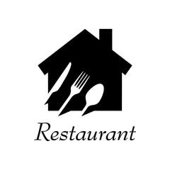 Logotipo con texto Restaurant con cubiertos en espacio negativo en vivienda en color negro
