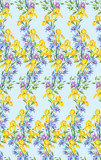 Composition of yellow irises and clematis.Seamless background pattern version 4