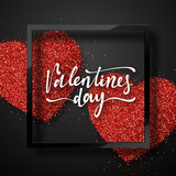 Happy Valentines Day lettering greeting card on red bright heart background. Festive banner and poster. - 245504989