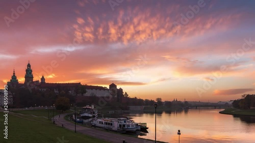 Wawel Castle in Krakow by goledn hour, Poland - 4k UHD time lapse detail shoot)