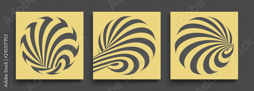 Black and yellow design. Pattern with optical illusion. Abstract 3D geometrical background. Vector illustration. - 245517953