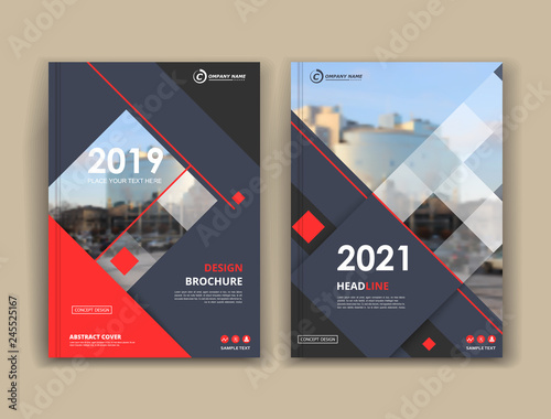 White book binder mockup. Brochure cover design. Title sheet model set. Modern vector front page art. Urban city house board. Red lines frame, rhombus figure, brand logo icon. Ad flyer text font.