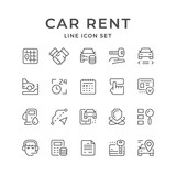 Set line icons of car rent