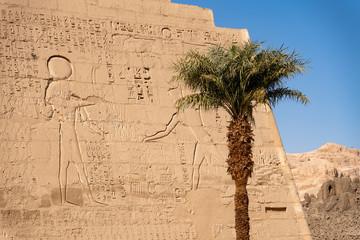 Luxor, Egypt, exterior of Mortuary Temple of Ramesses III at Medinet Habu