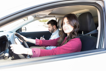 Learner Controlling Car By Steering Wheel
