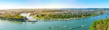 Koblenz, Blick von der Festung Ehrenbreitstein über Rhein, Mosel und die Stadt Koblenz - 245574924