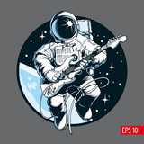 Astronaut playing electric guitar in space. Space tourist. Vector illustration. - 245580924
