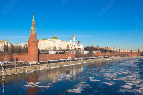 Kremlin of Moscow . Embankment of the Moskva River. Russia