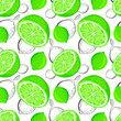 Leinwandbild Motiv Lime seamless pattern. Sketch limes. Citrus fruit background. Elements for menu, greeting cards, wrapping paper, cosmetics packaging, posters etc