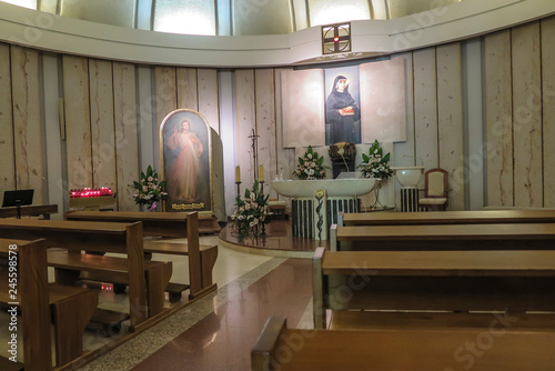 Krakow, Poland, August 15, 2018: Interior of the well-known Sanctuary of the Divine Mercy in Lagiewniki.