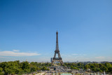 10/08/2018 Eiffel Tower, Paris. Panoramic View over the Tour Eiffel from Trocadero square (Place du Trocadero) full of people. Paris, France