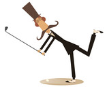 Gentleman a golfer isolated illustration.  Gentleman with mustache and top hat makes a good kick isolated on white illustration