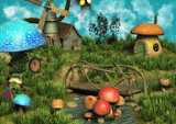 A fantasy meadow with houses made of mushrooms.