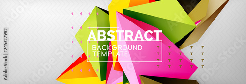 3d polygonal shape geometric background, triangular modern abstract composition - 245627992